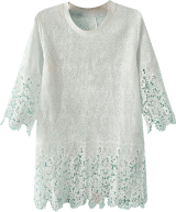 White Short Sleeve Crochet Blouse - StyleCracker