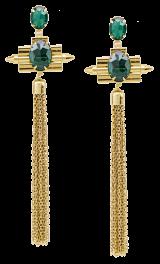 Emerald Fringe Earrings - StyleCracker