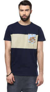 Navy T-Shirt with Patch Detail - StyleCracker