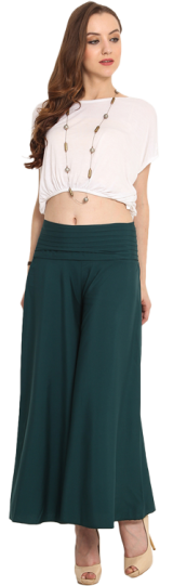 Green Solid Palazzo Pants - StyleCracker