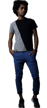 Chambray Jog Pants With Contrast Cuff - StyleCracker