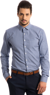 The Merchant: Blue Checkered Pinpoint Shirt - StyleCracker
