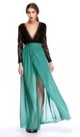 Finejo Sexy Women Lace Chiffon Splice Backless Maxi Dress Deep V-Neck Long Sleeve High Waist Front Split Dress EU000960 - StyleCracker