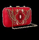 Red Clutch With Beadwork On Silk Base - StyleCracker