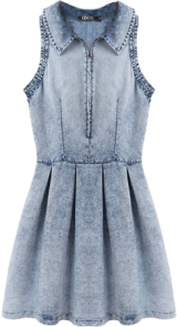 Womens Simple Turn-down Collar Print Denim Above Knee Sleeveless A-Line Dress 444624S00 - StyleCracker