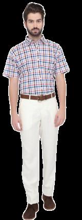 Greenfibre White Checkered Regular Fit Formal Shirt - StyleCracker