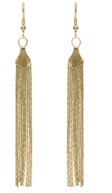 Long Chain Tassel Earrings-Gold - StyleCracker