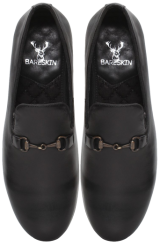 Black Lamb Leather Slip-On Shoes with Stylish Gunmetal Fittings - StyleCracker