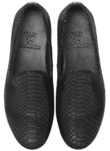 Bareskin Black Snake Print Leather Slip-On Shoes - StyleCracker