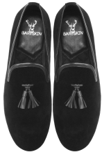 Bareskin Black Velvet / Leather Tassel Slip-on Shoes - StyleCracker