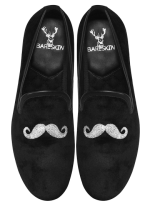 Mustache Design Men's Handmade Black Velvet Slip-On by Bareskin - StyleCracker