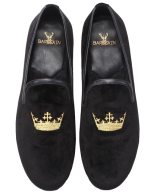 Golden Embroidery Black Velvet Slip on for Men by Bareskin - StyleCracker