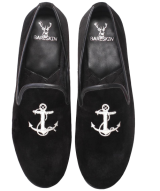Mens Handmade Black Velvet Slip-On With Silver Embroidery - StyleCracker