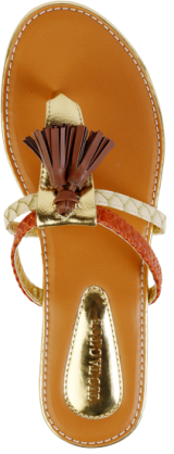 Tan and Orange Tassel Flats - StyleCracker