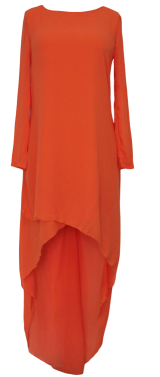 Orange Dipped Hemline Chiffon Maxi Dress - StyleCracker