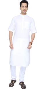 Alcantra White Self Textured Modi Kurta - StyleCracker