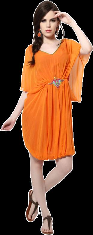 Karieshma Sarnaa - Saffron Draped Tunic - StyleCracker