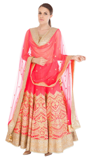 Tamanna Punjabi Kapoor - Pink Lehenga with Net Dupatta - StyleCracker