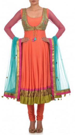 Karieshma Sarnaa - Orange Anarkali Kurta Set  with Jacket - StyleCracker