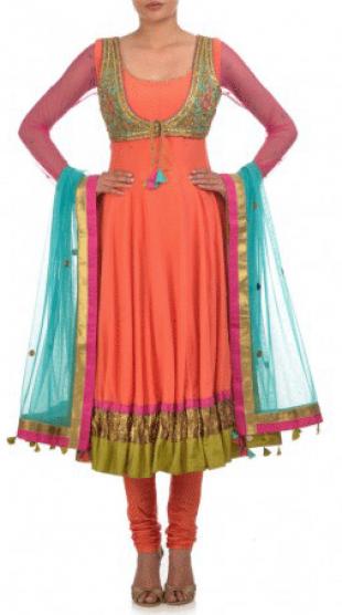 Karieshma Sarnaa - Orange Anarkali Kurta Set  with Jacket - StyleCracker