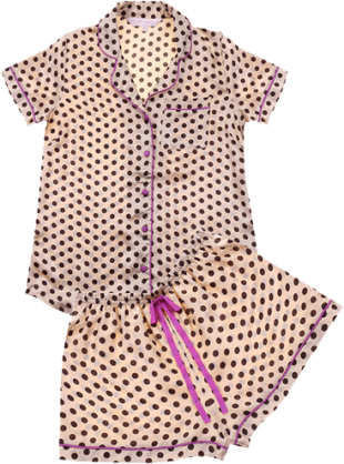 PrettySecrets Gold Polka Playmate Bedtime Glamour Top And Shorts Set - StyleCracker