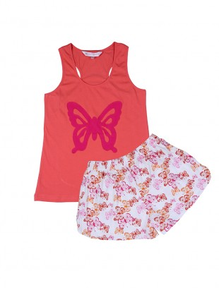 "PrettySecrets Orange Butterfly ""Playful-Story"" Tank Top & Shorts Set - StyleCracker"