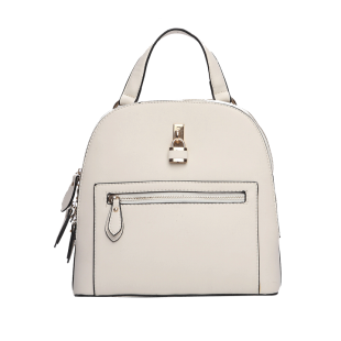 Ecru Lock Embellished Backpack - StyleCracker
