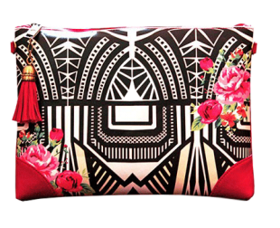 Deco Black Zip Clutch - StyleCracker