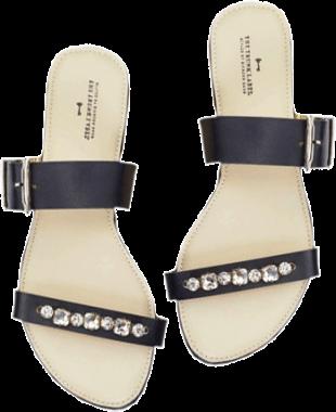 Black Embellished Strappy Flats - StyleCracker