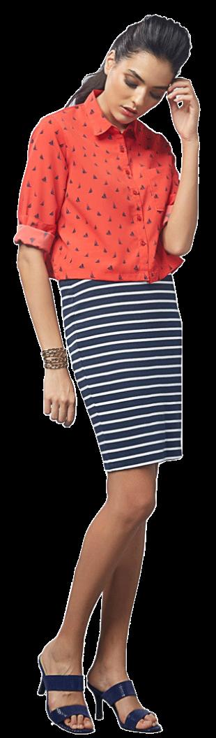 Yacht Print Crop Shirt - StyleCracker