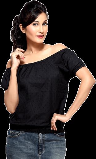 LocoEnCabeza Black Short Sleeve Elastic bottom Top CZWT0017 - StyleCracker