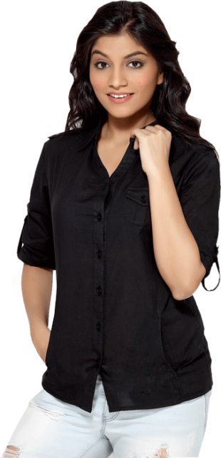 LocoEnCabeza Solid Black Cotton Womens Long Sleeve Shirt CZWT0005 - StyleCracker