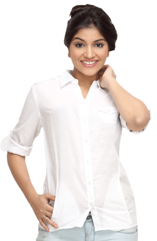 LocoEnCabeza Solid White Cotton Womens Long Sleeve Shirt CZWT0004 - StyleCracker