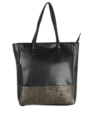 Black Tote With Gold Front Border - StyleCracker