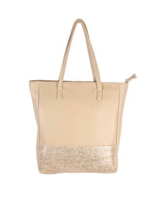 Beige Tote With Gold Front Border - StyleCracker
