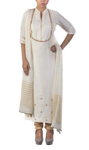 White Brocade Cotton Suit Raw Silk - StyleCracker