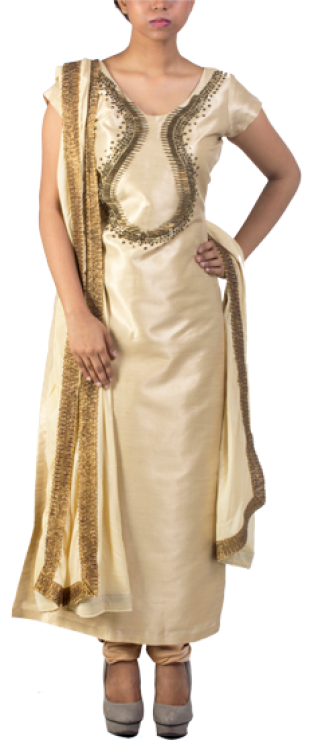 Gold Brocade Cotton Silk Suit Raw Silk - StyleCracker