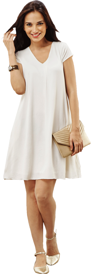 White V Neck Swing Dress - StyleCracker