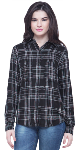 Checkered Boyfriend Shirt - Black - StyleCracker