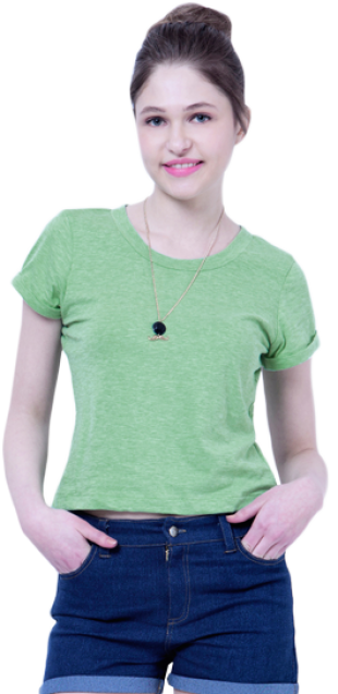 BASICS Green Boxy Crop Top - StyleCracker