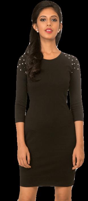 Black Embellished Bodycon Dress - StyleCracker