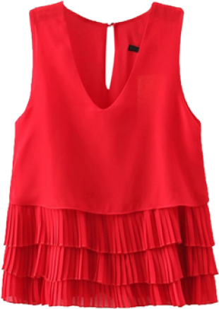 Red Cascading Pleated Top - StyleCracker
