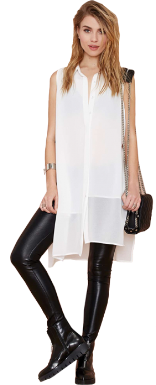 White Sleeveless Split Blouse - StyleCracker