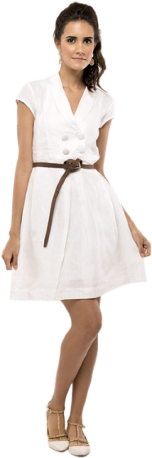 White Shawl Collar Dress - StyleCracker