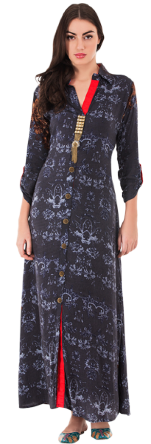 Printed Long Shift Dress With Gold Tassels - StyleCracker