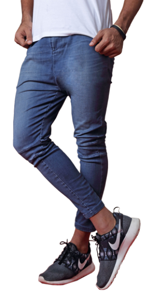 Blue Denim Joggers - StyleCracker