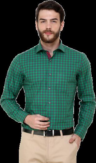 JadeBlue Green Checkered Regular Fit Formal Shirt - StyleCracker