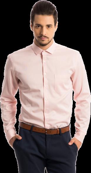 The Merchant: Peach Structured Pattern Shirt - StyleCracker