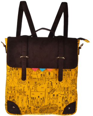 Yellow Mela Printed Sling Bag/Backpack - StyleCracker