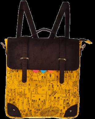 Yellow Mela Printed Sling Bag/Backpack - StyleCracker